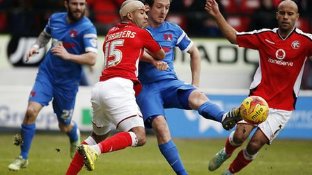 O's striker David Mooney gets a shot in atWalsall (pic: Simon O'Connor)
