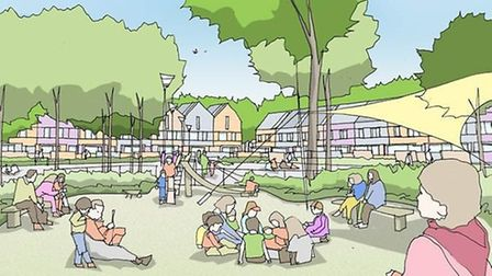 An artist's impression of the green space 'linear garden' the south of the borough will become