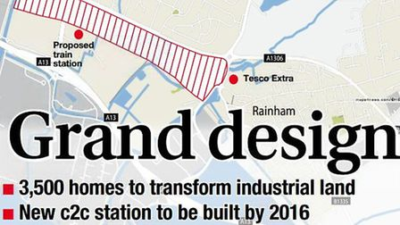 Today's front page of the Romford Recorder. The red outline shows where the main development will be