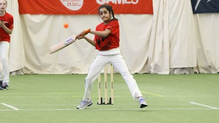 A Redbridge youngster hits out at the London Youth Games indoor cricket finals at Lord's (pic: LYG)