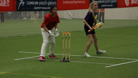 Redbridge girls in action at the London Youth Games cricket finals