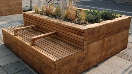 One of the new planters joined to a bench