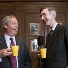Nigel Farage and Jacob Rees-Mogg are both pushing Brexit. Photograph: Isabel Infates/PA.