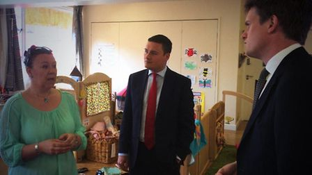 Wes Streeting and Tristram Hunt during a visit to KidsOwn nursery in South Woodford