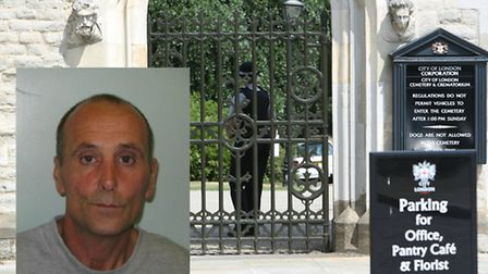 John Nicholles, inset, has been sentenced to nine years for killing a man at the City of London Ceme