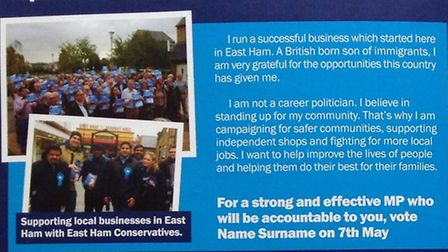 Conservative East Ham candidate Samir Jassal's leaflet contains a glaring error. Picture: ElectionLe