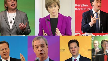 The seven party leaders. Top row (L-R): Natalie Bennett, Green Party, Nicola Stugeon, SNP, and Ed Mi