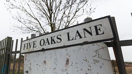 Five Oaks Lane sign at the entrance to Five Oaks Lane in Chigwell. A Compulsory Purchase order (CPO)