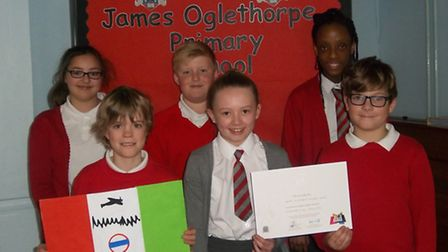 The winning team at James Oglethorpe's flag competition consisted of a group of Year 6 children: Ell