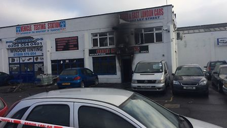 The damage caused by the fire at an industrial site in Ley Street, Ilford