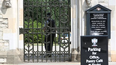 Police at City of London Cemetery in Manor Park
