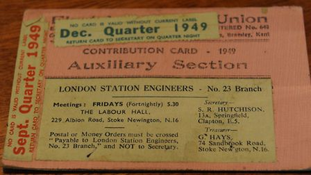Union membership card from 1949