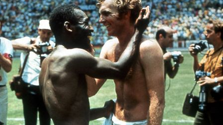 Bobby Moore and Pele swap shirts at the 1970 World Cup.