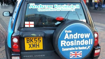 The campaign car was seen parked on the pavement in South Street, opposite Romford station