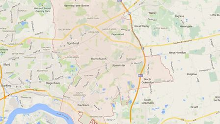 Map of Havering from Google Maps