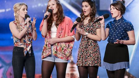 Katie Lawrence from Kelvedon Hatch, left-centre, performing with Misstasia on Britain's Got Talent.