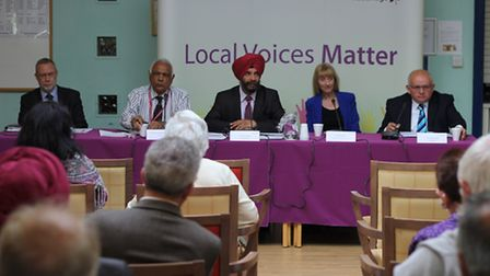 Redbridge Council's local forum at Sinclair House in Woodford Bridge Road, Redbridge. The panel, fro