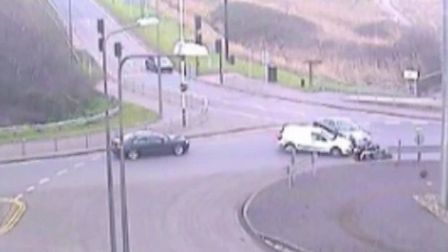 CCTV images of the incident at the Ferry Lane roundabout in Rainham. Picture: Essex Police