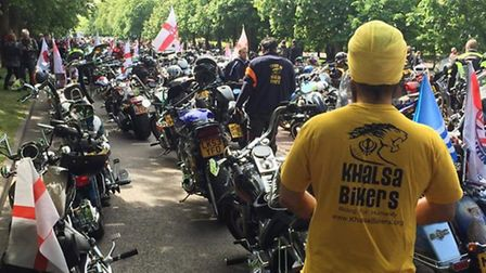 One Khalsa biker at the Lee Rigby 'Ride of Respect' which began in Greenwich Park