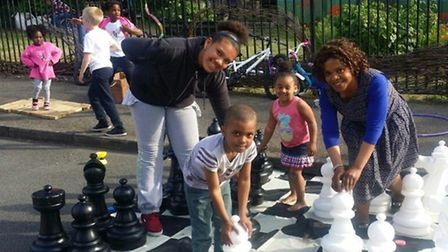 Families enjoyed a range of games as part of the First Avenue play street