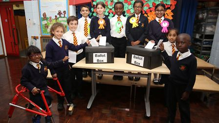 St Peter's and Paul's Primary School pupils took part in an election to coincide wit the national on
