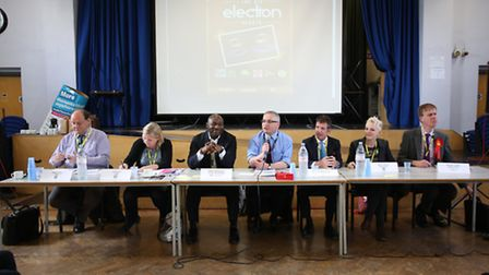 Candidates attend a hustings at NewVIc