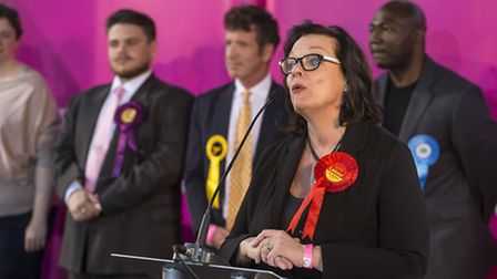 Lyn Brown delivers a speech after winning back her West Ham seat