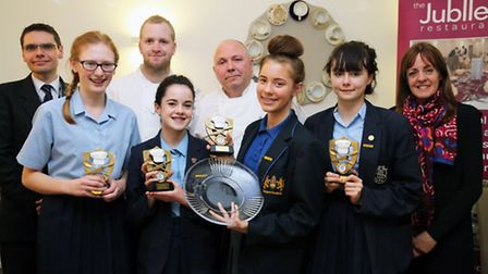 The winners and runners up of the Havering Young Chef of the Year competition. Front L-R: Holly Fay,