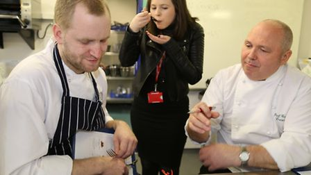 Havering Young Chef of the Year judges, Glenn Norman and Paul Gayler MBE, with taste testing from th