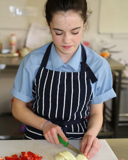 Havering Young Chef of the Year Sophia Negri making her main course
