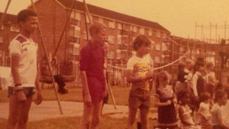 Children from the estate at Old Priory Park in the early 1980s