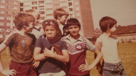 A group of children on the estate in the 1980s