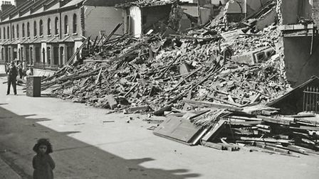 Bomb damage in Cundy Road. Picture: Newham Archives and Local Studies Library/Image available to buy