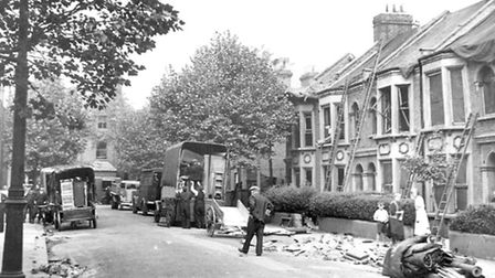 Bomb damage in Washington Road. Picture: Newham Archives and Local Studies Library/Image available t