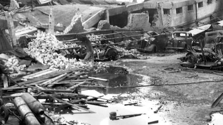 Bomb damage at Abbey Road depot. Picture: Newham Archives and Local Studies Library/Image available