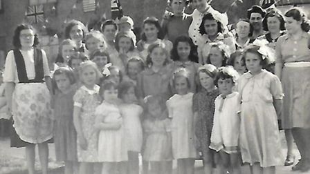 Picture of a street party Dorothy Pavitt attended on VE Day on May 8 1945, in Straight Road, Harold