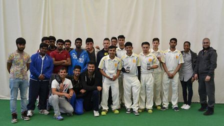 The Newham College team and staff at the AoC Indoor 24 (pic: Zaheer Daleel)
