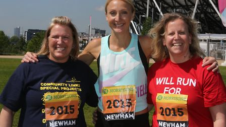 Paula Radcliffe at the Queen Elizabeth Olympic Park in Stratford with two of the six women picked as