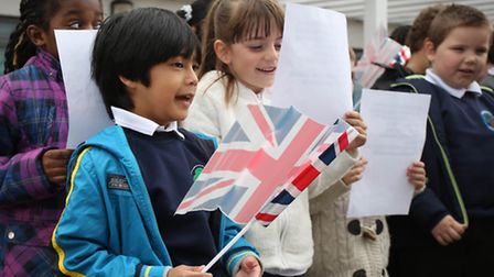 Broadford Primary School pupils enjoying their VE Day 70th anniversary celebrations