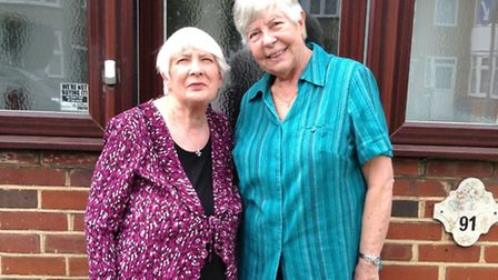 Maureen Johnson, left, 74 and Theresa Kowall, 75, celebrated 65 years of writing to each other this