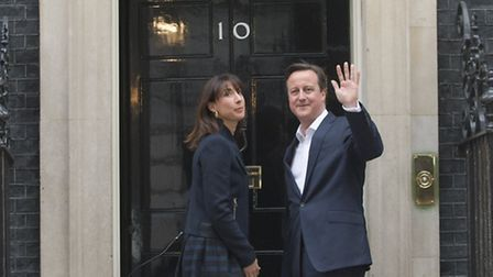 Prime Minister David Cameron and wife Samantha at 10 Downing Street after the Conservatives secured