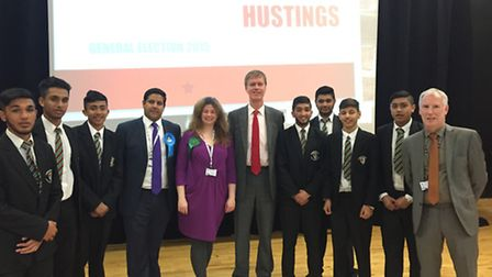 Students at Langdon with Samir Jassal (Conservative), Rachel Collinson (Green Party) and Stephen Tim