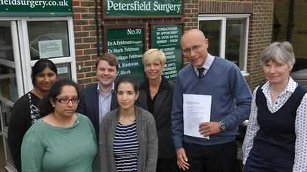 Dr Mark Feldman second right and his team at the Petersfield surgery