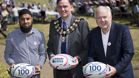 Mayor of Newham Sir Robin Wales, centre, with Cllr Ken Clark, right, and Cllr Idris Ibrahim, lead me
