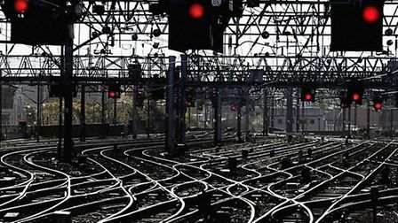 Signal lights all turned to red and lines standing empy as rail strike talks go ahead. Picture: PA W
