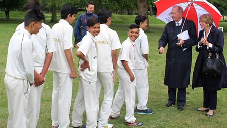 Members of West Ham Cricket Club wait to meet the Lord Mayor of the City of London, Alan Yarrow