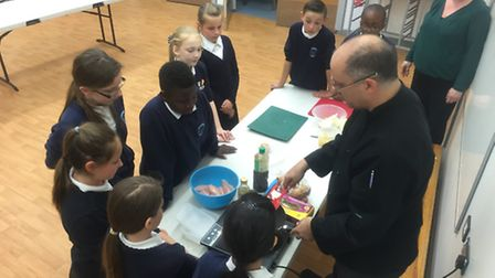 Chef Mark Borrell from the Love Food Hate Waste campaign taught pupils at Broadford Primary School h