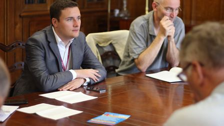 Ilford North MP Wes Streeting, left, and King George A&E campaigner Andy Walker, right, at the Save