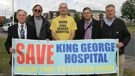 Campaigners protesting at Queen's Hospital, Rom Valley Way, againsts plans to downgrade the A&E at K