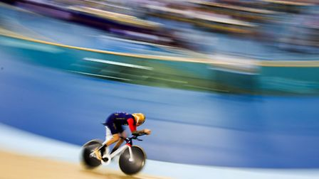 Sir Bradley Wiggins during his record hour cycling attempt at the Lee Valley Velopark. Picture: John